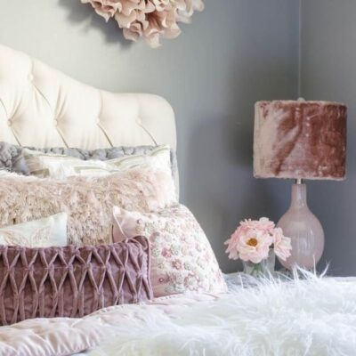 Small Queen Bedroom Makeover with white fluffy bedding